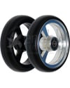 4 x 1 in. EPIC Aluminum Narrow Court Wheelchair Caster Wheel - Showing angled view of black and silver hubs