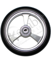 5 x 1 in. EPIC Aluminum Narrow Court Wheelchair Caster Wheel - Close-up view of silver hub