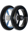 5 x 1 in. EPIC Aluminum Narrow Court Wheelchair Caster Wheel - Angled view of silver and black hubs