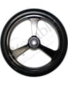 6 x 1 in. EPIC Aluminum Narrow Court Wheelchair Caster Wheel - Close-up view of black hub