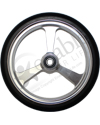 6 x 1 in. EPIC Aluminum Narrow Court Wheelchair Caster Wheel - Close-up view of silver hub