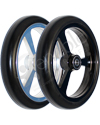 6 x 1 in. EPIC Aluminum Narrow Court Wheelchair Caster Wheel - Angled view of both black and silver hubs shown