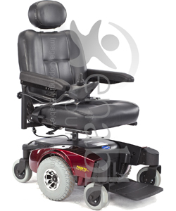 Invacare® Pronto® M51™ Power Wheelchair with Office Style Seat - Angled view with red shroud shown