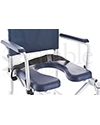 Invacare® Mariner Rehab Shower Wheelchair with Commode - Close-up view of the padded seat