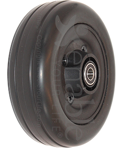 6 x 2 in. Invacare Wheelchair Replacement Caster Wheel in Black - Angled view shown