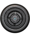 6 x 2 in. Invacare Wheelchair Replacement Caster Wheel in Black - front view shown