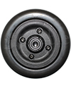 "6 x 2 in. Invacare Wheelchair Replacement Caster Wheel with Offset Bearings in Black - Side shown with smaller 7/16"" bearings"