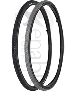 24 x 1 in. (25-540) Kenda Kwick Trax Wheelchair Tire w/Iron Cap - Angled view of both colors shown