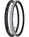24 x 1 3/8 in. (37-540) Kenda Kourier Wheelchair Tire - angled view shown of black and gray tread