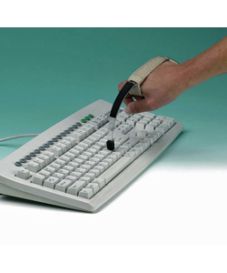 Maddak Page Turner/Keyboard Aid with Hand/Wrist Cuff - shown in use on a keyboard