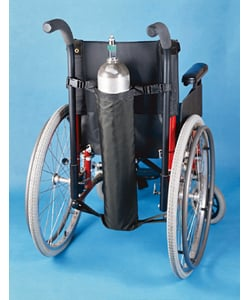 Maddak Oxygen Tank Holder for Wheelchairs - mounted on wheelchair & Maddak Oxygen Tank Holder for Wheelchairs