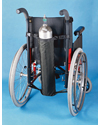 Maddak Oxygen Tank Holder for Wheelchairs - mounted on wheelchair