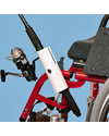 Maddak Fishing Pole Holder for Wheelchairs - Shown mounted on a wheelchair