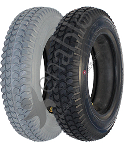 14 x 3 in. (3.00-8) Primo Powertrax Wheelchair Tire - showing both black and gray colors