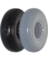 210-65 Multi Rib Urethane Permobil Replacement Wheelchair Tire - Angled view of Lt Gray and Black shown