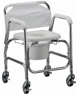 Nova Shower Chair and Commode with Wheels and 250 lb Capacity