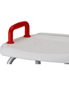 Nova Deluxe Adjustable Bath Bench With Back & 300 lb Capacity - Close-up view of red handle