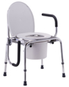Nova Adjustable Drop Arm Commode With 300 lb Capacity - Shown with one arm down