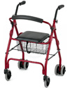 Nova Cruiser Classic 6 Wheel Rolling Walker Compact Rolling Walker - Shown in red