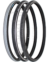24 x 1in. (25-540) Schwalbe Marathon Plus Evolution Wheelchair Tire - angled view of all three options shown