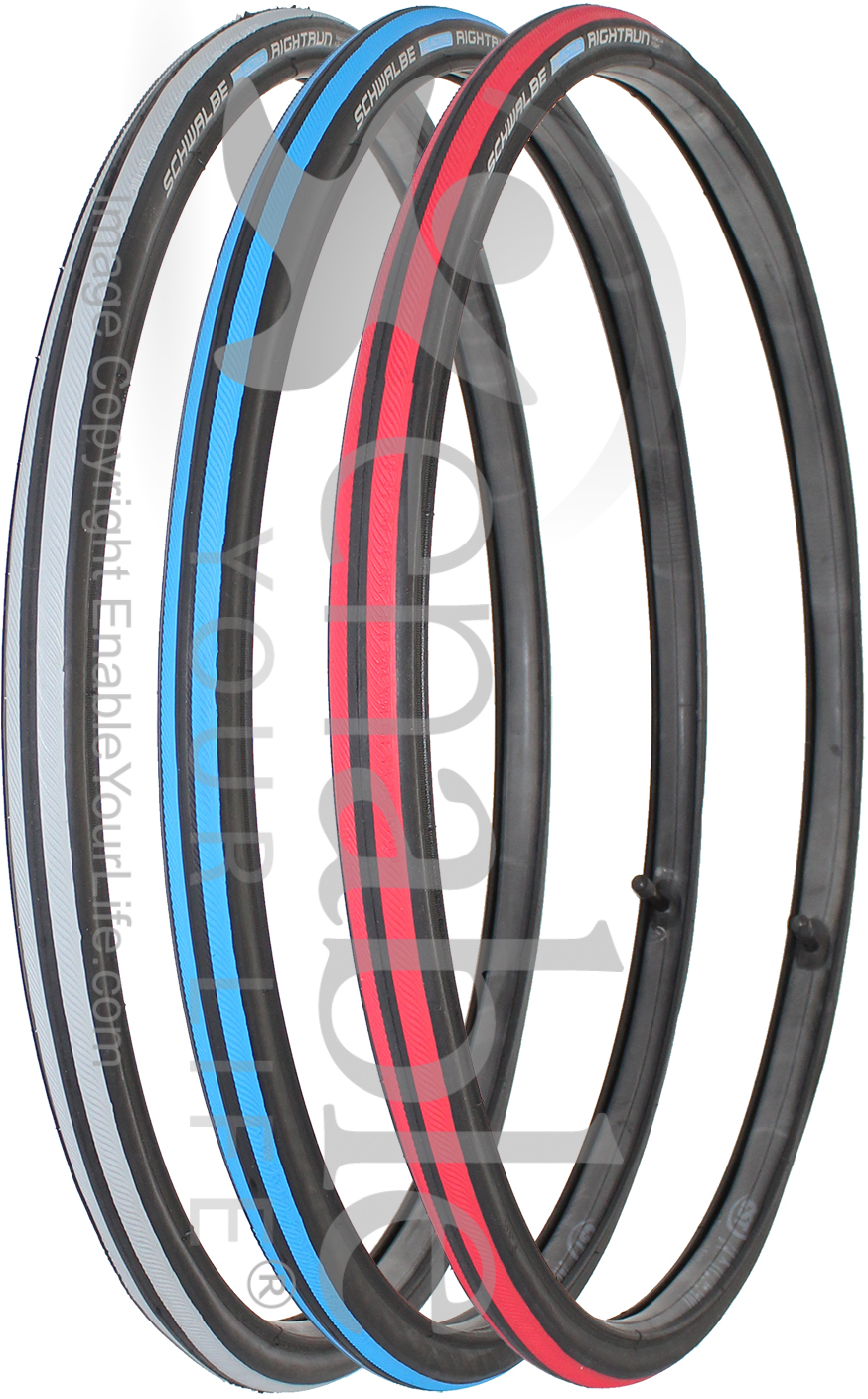 Right Run Wheelchair Tyres Optional Colours /& Tubes 25-540 Schwalbe 24 x 1