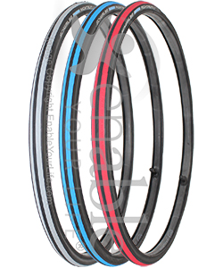 24 x 1 in. (25-540) Schwalbe Rightrun HS387 Wheelchair Tire - All 3 colors shown angled