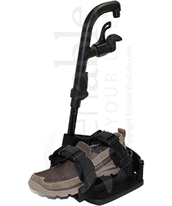 Therafin Deluxe Wheelchair Molded Shoe Holder with Padded Straps - Shown mounted to a footrest