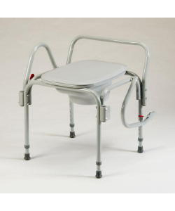 Elongated Seat Drop Arm Commode with 300 lb Capacity