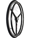 24 in. (540) 3 Spoke X-Core® Wheelchair Wheels - Angled view shown in gloss black spokes and black Shox tire