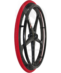 24 in. (540) X-Core™ 5 Spoke Enduro Wheelchair Wheel - Angled view shown with red Shox tire