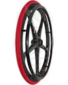 24 in. (540) X-Core™ 5 Spoke Enduro Wheelchair Wheel - Angled view shown with the Primo Orion tire