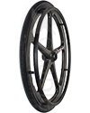 24 in. (540) X-Core™ 5 Spoke Enduro II Wheelchair Wheel - Shown with black Shox tire